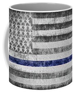 Coffee Mug featuring the digital art The Thin Blue Line American Flag by JC Findley