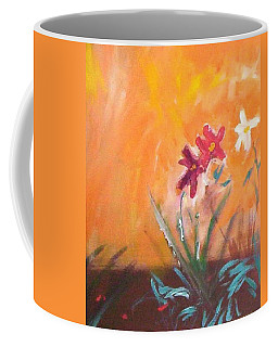 Coffee Mug featuring the painting The Three Daisies by Winsome Gunning