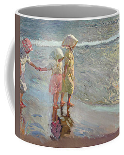 Coffee Mug featuring the painting The Three Sisters On The Beach by Joaquin Sorolla