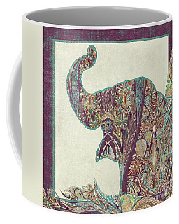Coffee Mug featuring the painting The Trumpet - Elephant Kashmir Patterned Boho Tribal by Audrey Jeanne Roberts