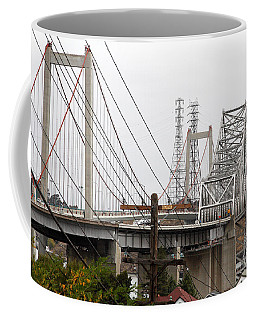 The Two Carquinez Bridges At Crockett And Vallejo California . Aka Alfred Zampa Memorial Bridge . 7d8919 Coffee Mug