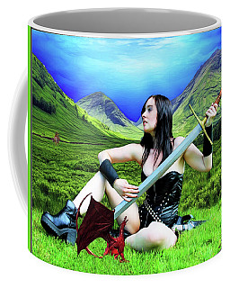 The Warrior And The Pseudo Dragon Coffee Mug