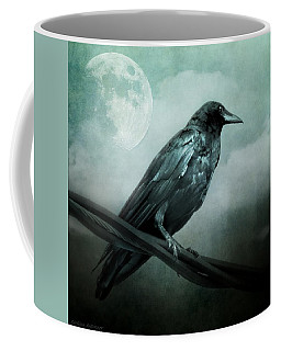 The Watcher Surreal Raven Crow Moon And Clouds Coffee Mug
