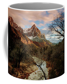 Coffee Mug featuring the photograph The Watchman At Sunset by Daniel Woodrum