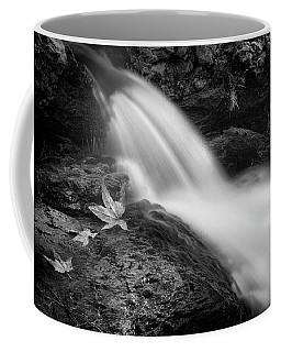 Coffee Mug featuring the photograph The Waterfall In Black And White  by Saija Lehtonen