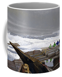 Coffee Mug featuring the painting The Wave Watchers by Dominic White