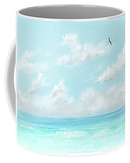 Coffee Mug featuring the digital art The Waves And Bird by Darren Cannell