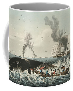 The Whale Fishery Attacking A Sperm Whale And Cutting In Coffee Mug