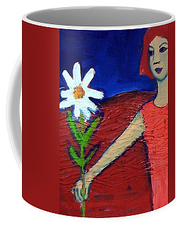 Coffee Mug featuring the painting The White Flower by Winsome Gunning