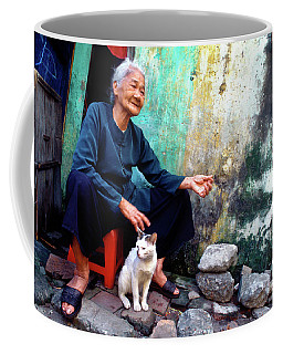 The Woman And The Cat Coffee Mug