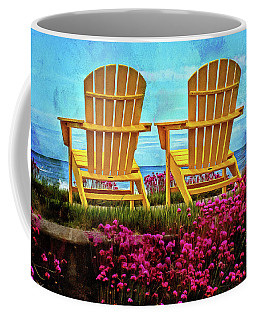 The Yellow Chairs By The Sea Coffee Mug by Thom Zehrfeld