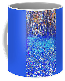 The Yellow Leaf Road - Blue Abstract Coffee Mug