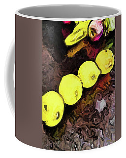 The Yellow Lemons In A Row And The Pink Apple Coffee Mug