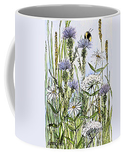 Coffee Mug featuring the painting  Thistles Daisies And Wildflowers by Laurie Rohner
