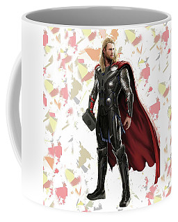 Coffee Mug featuring the mixed media Thor Splash Super Hero Series by Movie Poster Prints