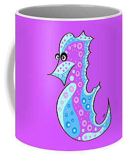 Coffee Mug featuring the painting Thoughts And Colors Series Seahorse by Veronica Minozzi