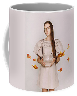 Thoughts Of Freedom. Series Escape Of Golden Fish  Coffee Mug