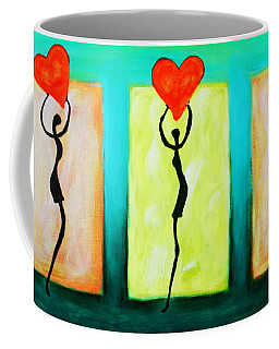 Three Abstract Figures With Hearts Coffee Mug by Bob Baker