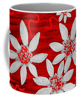Three And Twenty Flowers On Red Coffee Mug