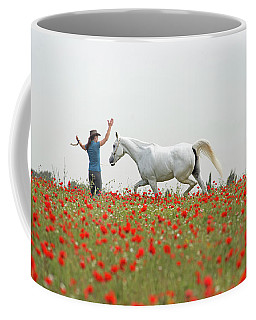 Coffee Mug featuring the photograph Three At The Poppies' Field by Dubi Roman