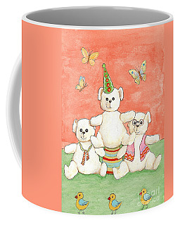 Coffee Mug featuring the painting Three Bears Ready For The Party by Nareeta Martin
