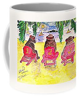 Watercolor Three Bears Visiting Hawaii Coffee Mug