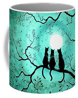 Three Black Cats Under A Full Moon Coffee Mug