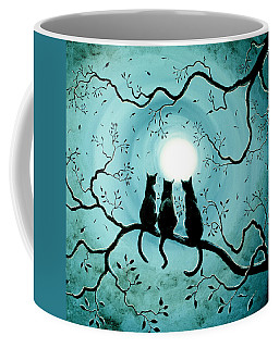 Three Black Cats Under A Full Moon Silhouette Coffee Mug by Laura Iverson