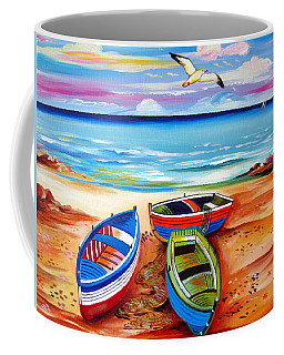 Three Boats And A Seagull Coffee Mug
