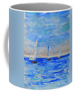 Three Boats Coffee Mug by Jamie Frier