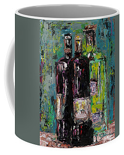 Three Bottles Of Wine Coffee Mug by Frances Marino