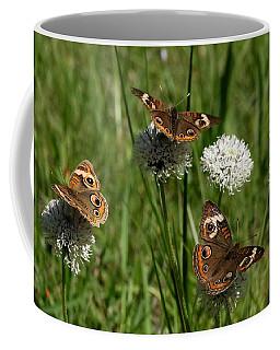 Three Buckeye Butterflies On Wildflowers Coffee Mug