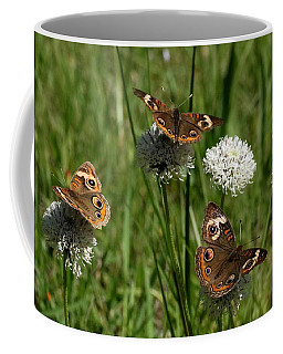 Three Buckeye Butterflies On Wildflowers Coffee Mug
