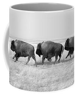 Three Buffalo In Black And White Coffee Mug