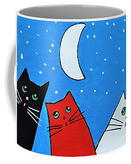 Coffee Mug featuring the painting Three Cats And A Moon by Sean Brushingham