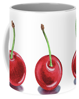 Coffee Mug featuring the painting Three Cherries Watercolor Painting by Irina Sztukowski