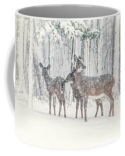 Three Deer Come Calling Coffee Mug