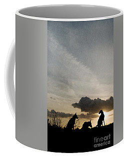 Three Dogs At Sunset Coffee Mug