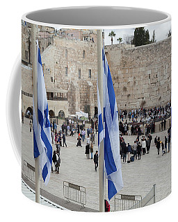 Three Flags Of Israel With The Wailing Wall In The Background Coffee Mug by Yoel Koskas