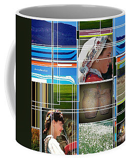 Coffee Mug featuring the mixed media Three Girls by Andrew Drozdowicz