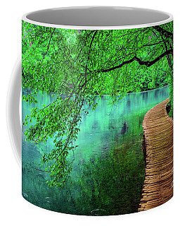 Tree Hanging Over Turquoise Lakes, Plitvice Lakes National Park, Croatia Coffee Mug