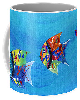 Coffee Mug featuring the painting Three Little Fishy's by Jamie Frier