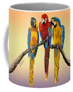 Three Macaws Hanging Out Coffee Mug