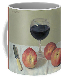 Three Peaches, Wine And Knife Coffee Mug