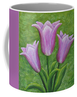 Coffee Mug featuring the painting Three Pink Tulips by Nancy Nale