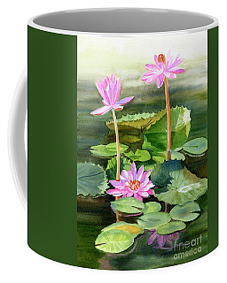 Three Pink Water Lilies With Pads Coffee Mug