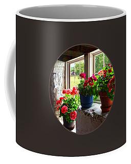 Three Pots Of Geraniums On Windowsill Coffee Mug