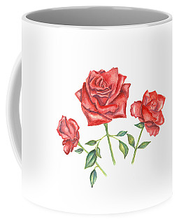 Coffee Mug featuring the mixed media Three Red Roses by Elizabeth Lock
