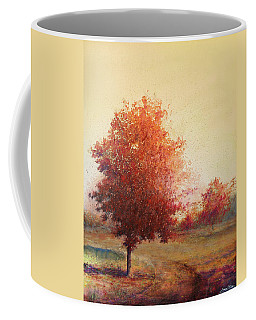 Coffee Mug featuring the painting Three Red Trees by Andrew King