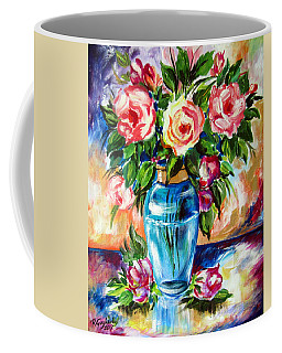 Three Roses In A Glass Vase Coffee Mug